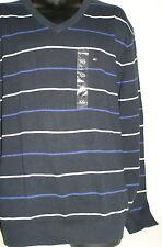 Men's TOMMY HILFIGER Logo Emblem V Neck 100% Cotton Pullover Striped Sweater