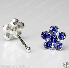 Silver Nose Stud Bone Ring Daisy Flower Crystal Blue Gems Body Jewelry Sterling