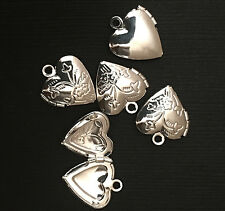 10  Silver plated Heart Locket Pendant 13x15mm, puff heart locket with flower