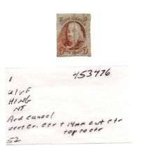 1847 US Scott 1 Ben Franklin 5 cent stamp red cancel Used repaired