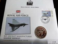 2008 B/U GIBRALTAR 1 CROWN COIN PNC + COA HISTORY OF THE RAF HAWKER SIDDELEY