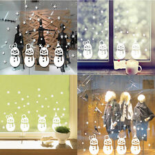 Funny Sweet Snowman Stickers Happy Christmas 4 Snowman Snowflake Window Decals