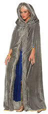 LADIES GREY CAPE - FANCY DRESS COSTUME - WOLF WITCH SORCERESS GANDALF QUEEN ICE