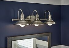 Allen + Roth Bathroom Vanity 3-Light Fixture Antique Pewter Cone Wall Lighting
