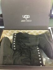 "UGG & JIMMY CHOO Black Suede Sheepskin ""SORA"" Fringed Winter Boots Size US9"