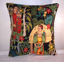 "BRAND NEW BLACK  FRIDA KAHLO COTTON CUSHION COVER  16""X16"""