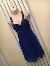 LIPSY Stunning Royal Blue Beaded Babydoll Dress Size 10 NEW with Tags