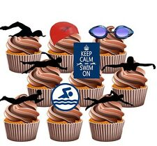 Swimming Themed Party Pack - 36 Edible Stand Up Cup Cake Toppers Decorations