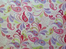 ~ FLANNEL~Birds~Pink~Mauve~Flower~Quilting Fabric~Childrens Flannelette~Girls~FQ