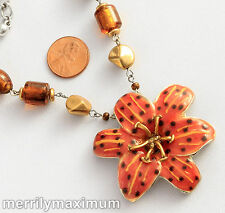 Chico's Signed Necklace Gold & Silver Tone Orange Enamel Flower Bead Chain