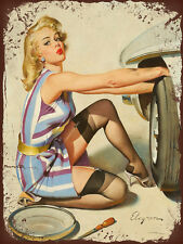 vintage retro style Elvgren sexy pin up tyre image metal sign tin wall plaque
