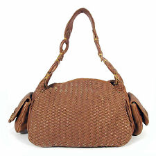 COLE HAAN Large Brown Woven Leather Satchel Hand Bag