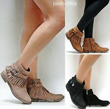 New Women AMy Taupe Tan Black Western Fringe Moccasin Boots Ankle Booties 6 - 10