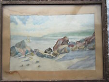 Old Vintage Watercolor Painting Seascape Rocks & Boat