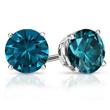 4 Ct Round Blue Earrings Studs Solid 14K White Gold Brilliant Screw Back Basket