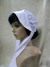 White Pilgrim Bonnet Hat Old Fashioned Nurse Wagon Train Quaker Amish Prayer Cap