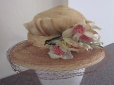 Vintage 1930s Depression Era Womens Summer Hat with Silk Flowers