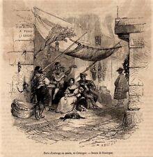 GRAVURE DE 1860  --  PORTE D AUBERGE OU VENTA EN CATALOGNE     3L638