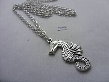 "A  Seahorse Tibetan Silver Charm Pendant, Long ( 30"" ) Chain Necklace"