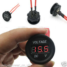 12V 24V CIRCULAR PANEL MOUNT RED LED VOLTMETER WATERPROOF FOR 28mm HOLE ROUND