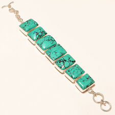 NATURAL TURQUOISE GEMSTONE 925 SILVER BRACELET HANDMADE JEWELRY SE193