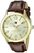 Tommy Hilfiger 1770013 Gold Dial Brown Leather Strap Women's Watch
