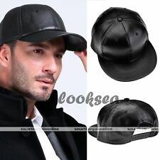 Cool Faux Leather Buckle Black Plain Blank Hiphop Snapback Baseball Hat/cap