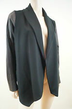 THEORY Black Jacket With Faux Leather Sleeves Sz: L BNWT