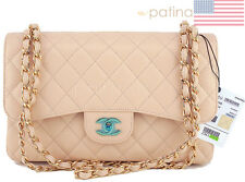 NWT Chanel Beige Clair Caviar Jumbo 2.55 Classic Double Flap Bag 61958