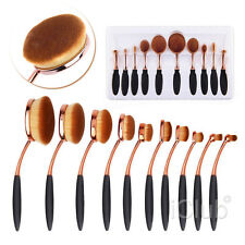 10 XToothbrush Elite Oval Make Up Brushes Set Golden Powder Foundation Contour
