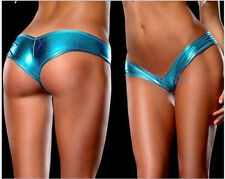 Hot Sexy Thong G-string Panties Brief Bikini Leather Lingerie Underwear blue s9