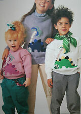 Boys and Girls Jumper with Dinosaur Motif Knitting Patter