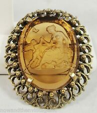 Vintage R J Graziano Brooch Pin Reverse Carved Intaglio Nude & Angel Brown Glass