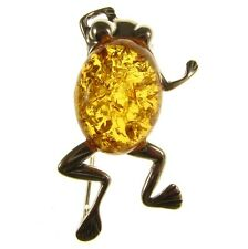 BALTIC AMBER STERLING SILVER 925 LADIES FROG BROOCH PIN JEWELLERY JEWELRY GIFT