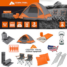 Camping Family Tent 4 Person w/ Equipment Chairs Sleeping Bag Hiking 22pcs Set