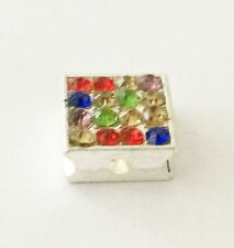SQUARE SILVER ALLOY & MULTICOLOURED STONES CHARM FOR BRACELETS - -NEW