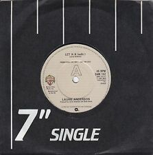 """LAURIE ANDERSON LET X=X (EDIT.) 1982 WB SAM152 - RARE PROMO-ONLY 7"""" 45rpm SYNTH"""