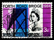 ART PRINT POSTAGE STAMP UNITED KINGDOM 3D OLD PENCE FORTH ROAD BRIDGE LFMP0767