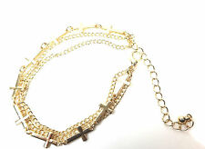 LADIES CHUNKY MULTI LAYER GOLDEN CROSS BRACELET UNIQUE (CL5)
