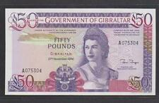 1986 Gibraltar 50 Pounds With 1st Prefix - UNC