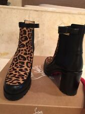 Christian Louboutin Yetata Calf Hair Ankle Boots In Brown Size 38 MSRP 1295$