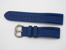 Silicone watch strap rubber band, blue, 22mm