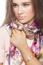 Scarf Spring Shawl New Summer Style Double Face Floral And Leopard Print Silky
