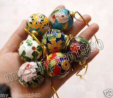NEW 10PCS CUTE CHINESE HANDMADE CLOISONNE BALL CHRISTMAS ORNAMENT