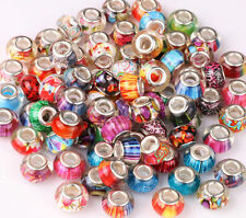 10 x Murano Lampwork Charms Beads Fits European Bracelets Jewellery Making
