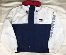 Vtg Tommy Hilfiger Sailing Hooded Windbreaker Jacket Spellout M Red Beige Blue