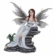 Large Fantasy Fairy White Dragon Figurine Fairyland Legends Decorative Statue