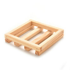 7*7cm Square Natural Wood Soap Dish  Box Container Holder Shower Room Accessory