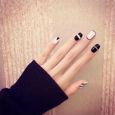 24pcs Black Short Fake Nails Art Tips Acrylic Nail False French Artificial Nail