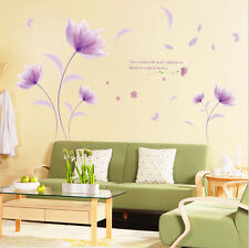 USA Purple Flower Wall Decal DIY Room Sticker Removable Paper Mural Home Decor